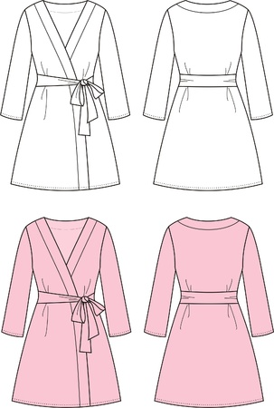 bathrobe: illustration of women s dressing gown  Front and back views Illustration