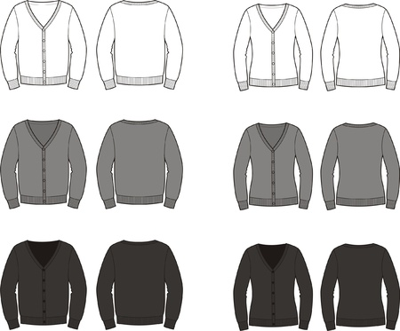 men s: illustration  Set of men s and women s cardigans  Different colors  Front and back views