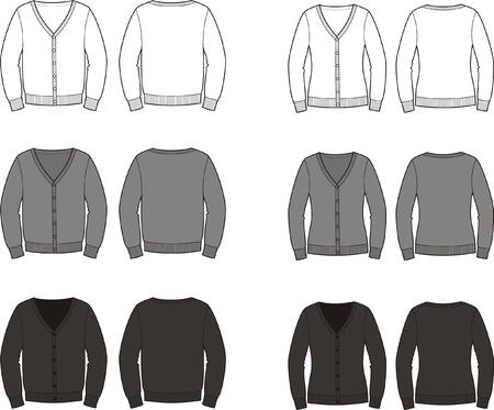 男性 s と女性のカーディガン前面の異なる色のセットの図および背面ビュー