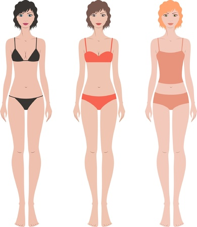 bra: illustration  Set of women s fashion figures