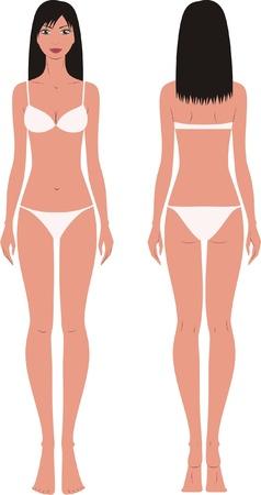 illustratie van vrouwen s mode figuur Voor-en achterzijde uitzicht Stock Illustratie
