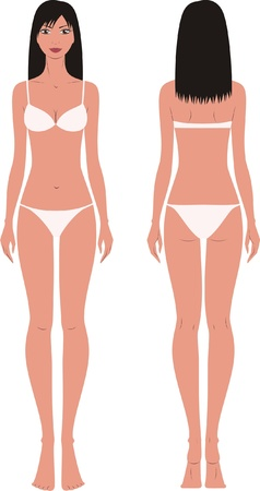 illustration of women s fashion figure  Front and back views