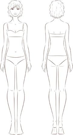 illustratie van vrouwen s mode figuur voorzijde en uitzicht terug Silhouette