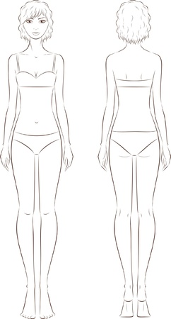 illustration of women s fashion figure  Front and back views  Silhouette