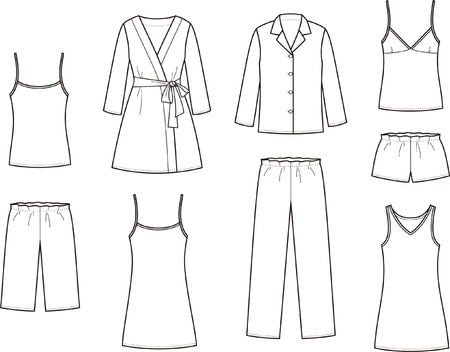illustration  Set of women s sleepwear 向量圖像