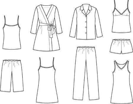 night suit: illustration  Set of women s sleepwear Illustration