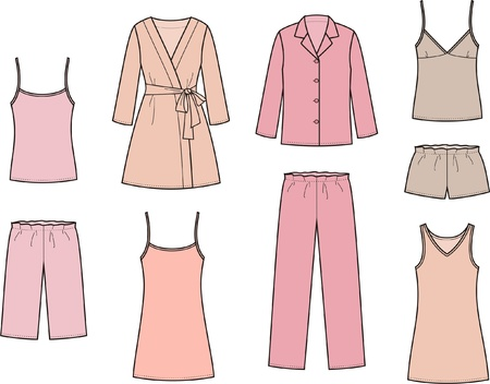 pijama: Ilustración Conjunto de ropa de dormir de las mujeres s