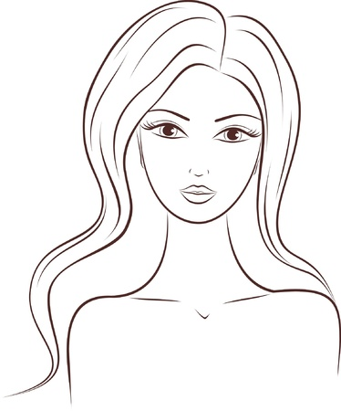 'head and shoulders':  illustration of a woman with long hair Illustration