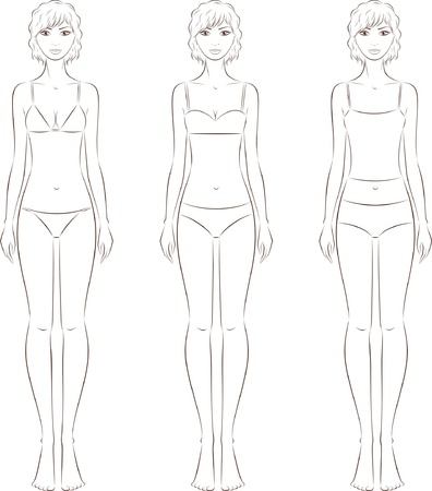 knickers: Vector illustration of women s fashion figures in underwear  Silhouette