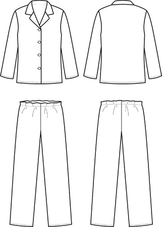 Vector illustration of sleepwear  Front and back views