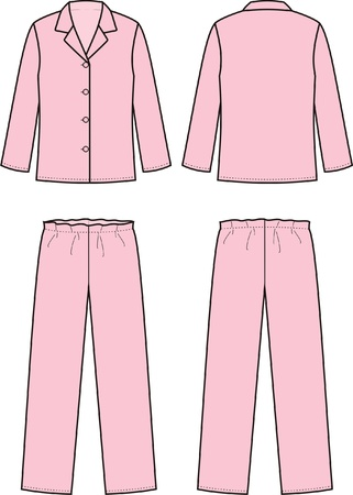 night suit: Vector illustration of sleepwear  Front and back views