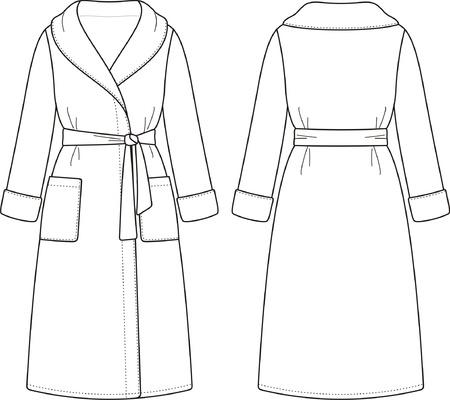バスローブ前面および背面ビューのベクトル イラスト