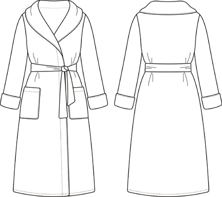 dressing gown: Vector illustration of bathrobe  Front and back views