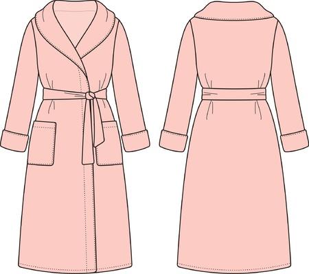 bathrobes: Ilustraci�n vectorial de albornoz Vista frontal y posterior Vectores