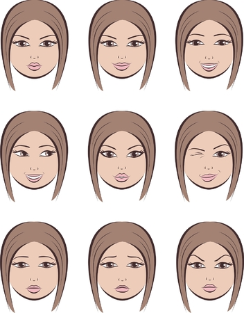 sad face: Vector illustration  Set of women s facial expressions