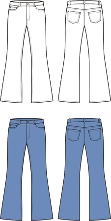 bell bottoms: Vector illustration of jeans  Front and back views Illustration