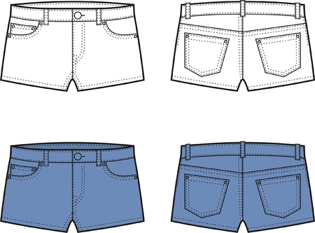 Vector illustration of denim shorts  Front and back views Vector