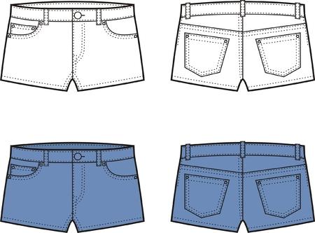 Vector illustration of denim shorts Front and back views 向量圖像