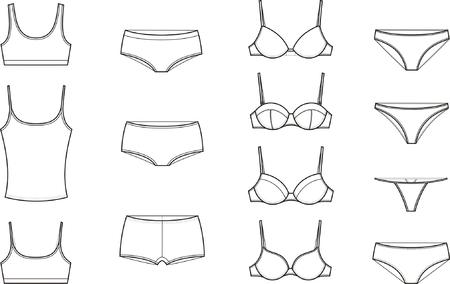 ropa interior: Ilustración vectorial Conjunto de ropa interior de mujer s