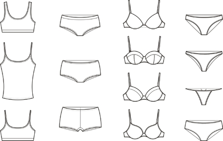 bra top: Vector illustration  Set of women s underwear Illustration