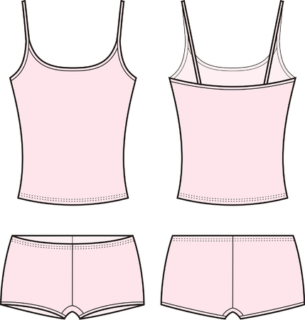 Vector illustration of women s sport underwear set  Singlet and shorts  Front and back views Stock Vector - 22299383