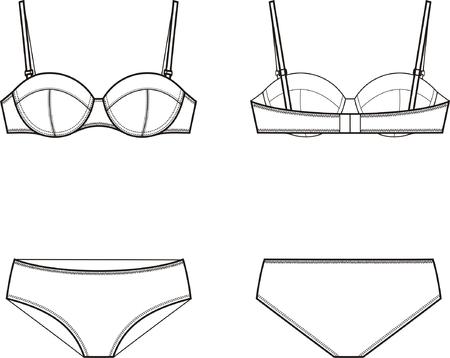 girls underwear: Ilustraci�n vectorial de las mujeres la ropa interior de conjunto de sujetador y bragas delanteras y traseras vistas