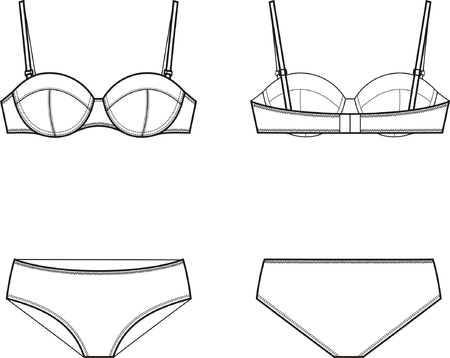 Vector illustration of women s underwear set  Bra and panties  Front and back views Vector