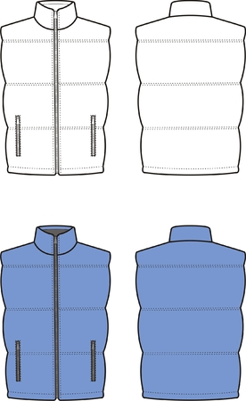 Vector illustration of winter quilted waistcoat  Front and back views