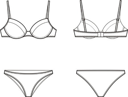 bra: illustration of women s underwear set  Bra and panties  Front and back views Illustration