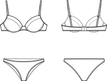 ilustración de las mujeres la ropa interior de conjunto de sujetador y bragas delanteras y traseras vistas Ilustración de vector