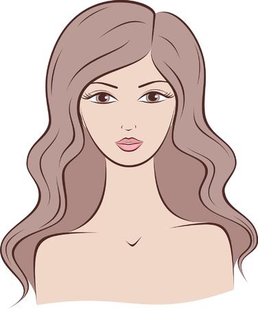 長い髪の女性のシルエットのイラスト  イラスト・ベクター素材