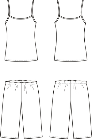 breeches: illustration of women s sleepwear  Singlet and breeches  Front and back views Illustration