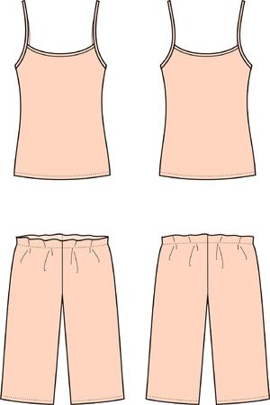 femme en sous vetements: illustration des femmes vêtements de nuit singlet et culotte vues avant et arrière Illustration