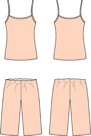 night suit: illustration of women s sleepwear  Singlet and breeches  Front and back views Illustration