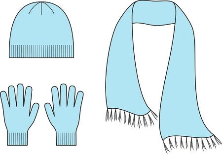 woman wearing hat: Vector illustration  Set of winter accessories  Cap, scarf, gloves  Knitwear