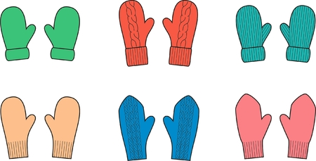 warm clothes: Vector illustration  Set of knitted mittens