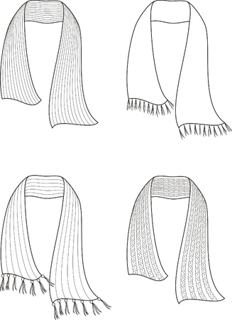 woman scarf: Vector illustration  Set of knitted scarfs