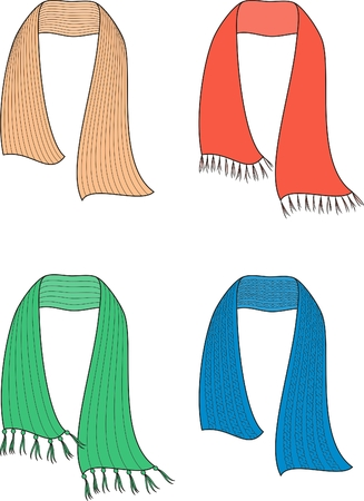 Vector illustration  Set of knitted scarfs Vector