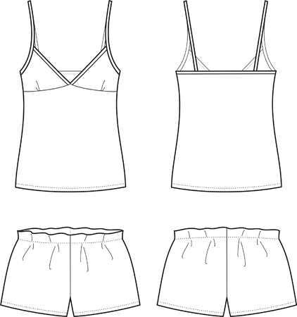 pajamas: Vector illustration of women s sleepwear  Singlet and shorts  Front and back views