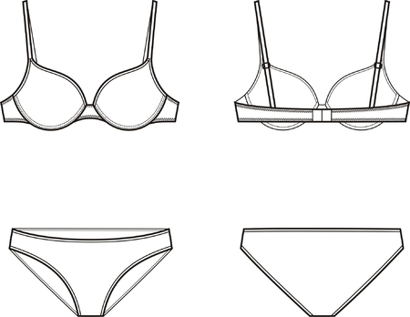 bra: Vector illustration of women s underwear set  Bra and panties  Front and back views Illustration