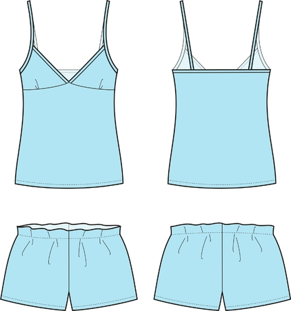 night suit: Vector illustration of women s sleepwear  Singlet and shorts  Front and back views