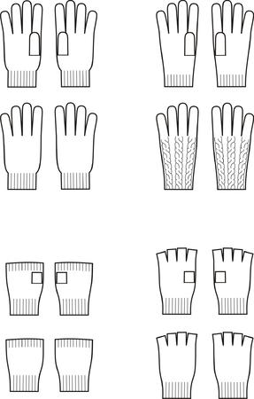 tejidos de punto: Ilustraci�n vectorial Juego de invierno guantes de g�neros de punto