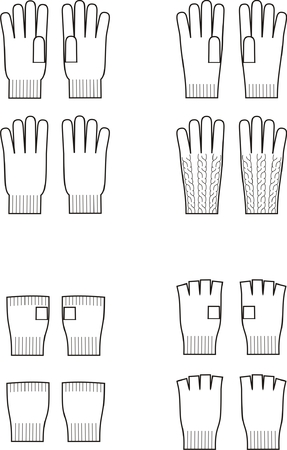 knitwear: Vector illustration  Set of winter gloves  Knitwear