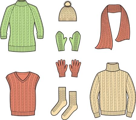 ベクトル図セットの冬の服やアクセサリーのセーター、スカーフ、帽子、ミトン チョッキ、手袋、靴下、ニット  イラスト・ベクター素材