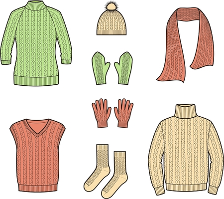 Vector illustration  Set of winter clothes and accessories  Sweater, waistcoat, scarf, cap, mittens, gloves, socks  Knitwear Illustration