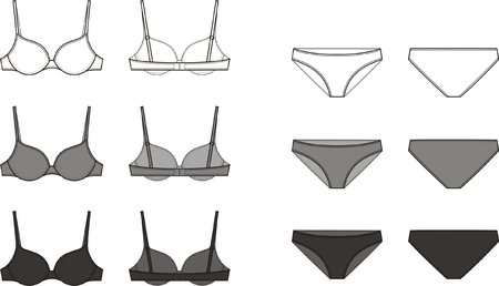 bra: Vector illustration of women s underwear set  Bra and panties  Front and back views  Different colors  white, grey, black Illustration