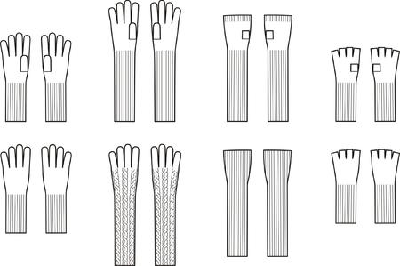tejidos de punto: Ilustraci�n vectorial Conjunto de guantes de invierno Punto