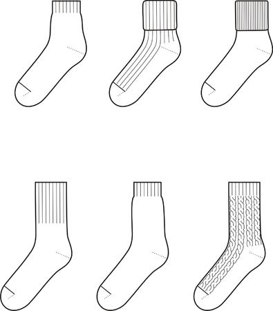 calcetines: Ilustración vectorial Conjunto de calcetines Vectores