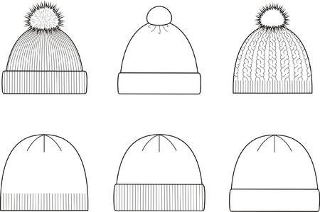tejidos de punto: Ilustraci�n vectorial Conjunto de invierno tapas de los g�neros de punto