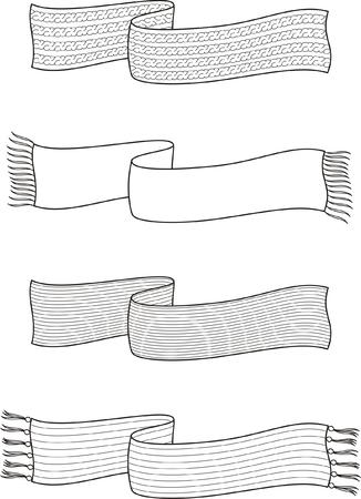 tejidos de punto: Ilustraci�n vectorial Conjunto de bufandas de invierno Prendas de punto